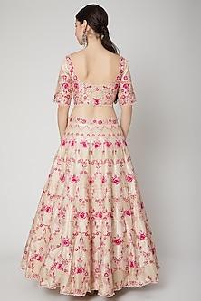 Blush Pink Embroidered Lehenga Set by Nadima Saqib