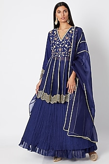 Cobalt Blue Embroidered Lehenga Set by Nadima Saqib