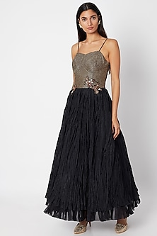 Black Embroidered Bustier Gown by Nadima Saqib