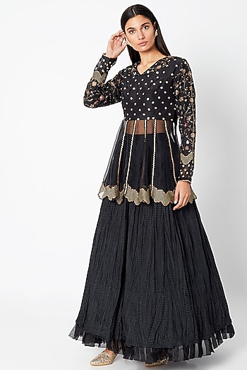 Black Embroidered Lehenga Skirt With Peplum Top by Nadima Saqib