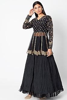 Black Embroidered Lehenga Skirt With Peplum Top by Nadima Saqib