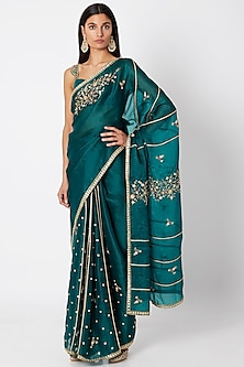 Emerald Green Embroidered Saree Set by Nadima Saqib