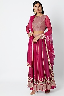Fuchsia Embroidered Lehenga Set by Nadima Saqib
