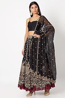 Black Embroidered Lehenga Set by Nadima Saqib-SHOP BY STYLE