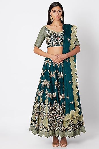 Emerald Green Embroidered Lehenga Set by Nadima Saqib