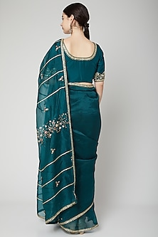 Emerald Green Embroidered Saree Set by Nadima Saqib
