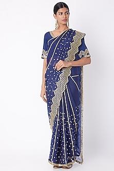 Cobalt Blue Embroidered Saree Set by Nadima Saqib