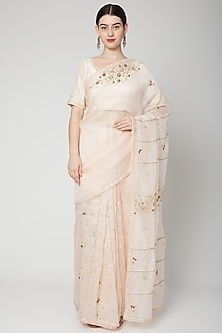Blush Pink Embroidered Saree Set by Nadima Saqib