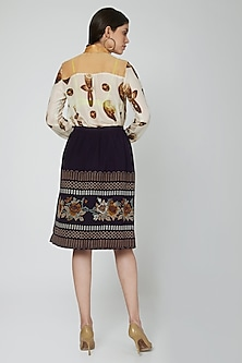 Nude Printed Shirt With Woven Skirt by N&S Gaia