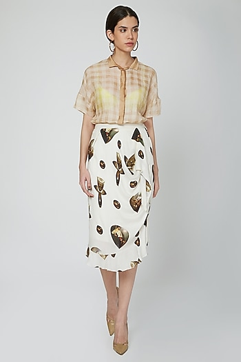 Nude Shirt With Printed High Waisted Skirt by N&S Gaia