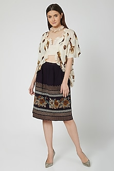 Nude Printed Top With Skirt by N&S Gaia