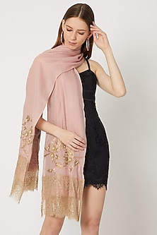 Blush Pink Pashmina Embroidered Stole by Neiza Shawls