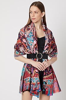 Black Embroidered & Printed Shawl by Neiza Shawls