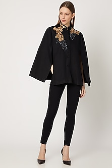 Black Sequins Embroidered Cape by Neiza Shawls-POPULAR PRODUCTS AT STORE