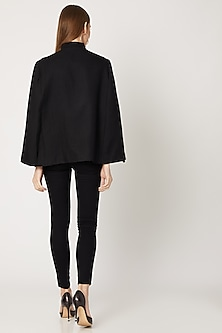 Black Sequins Embroidered Cape by Neiza Shawls