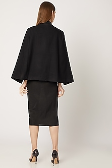 Black Embroidered Cape With Leather Collar by Neiza Shawls