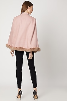 Blush Pink Embroidered Cape With Fur by Neiza Shawls