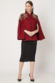 Maroon Hand Embroidered Cape by Neiza Shawls