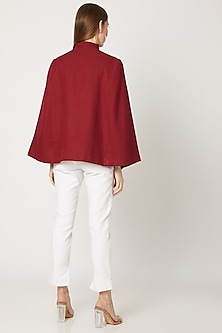 Maroon Sequins Embroidered Cape by Neiza Shawls