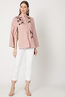 Blush Pink Cutdana Embroidered Cape by Neiza Shawls