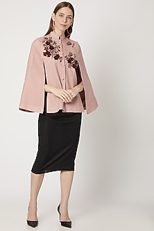 Blush Pink Hand Embroidered Cape by Neiza Shawls-POPULAR PRODUCTS AT STORE