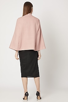 Blush Pink Hand Embroidered Cape by Neiza Shawls