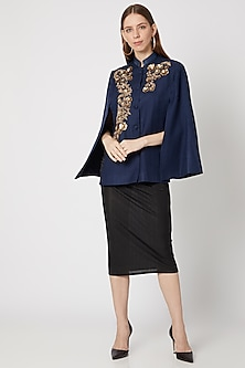 Navy Blue Embroidered Cape by Neiza Shawls-POPULAR PRODUCTS AT STORE