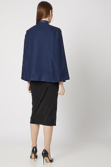 Navy Blue Embroidered Cape by Neiza Shawls
