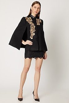 Black Embroidered Cape With Collar by Neiza Shawls
