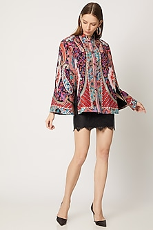 Black Printed & Embroidered Cape by Neiza Shawls