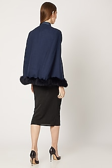 Navy Blue Embroidered Cape With Fur by Neiza Shawls