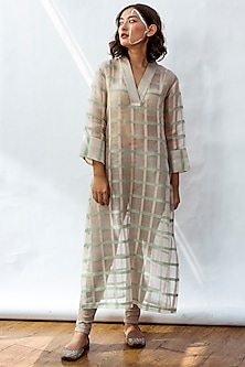 Mint Green Accent Striped Kurta With Slip by NESOLO