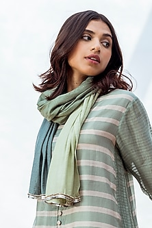 Green Handwoven Embroidered Scarf by NESOLO