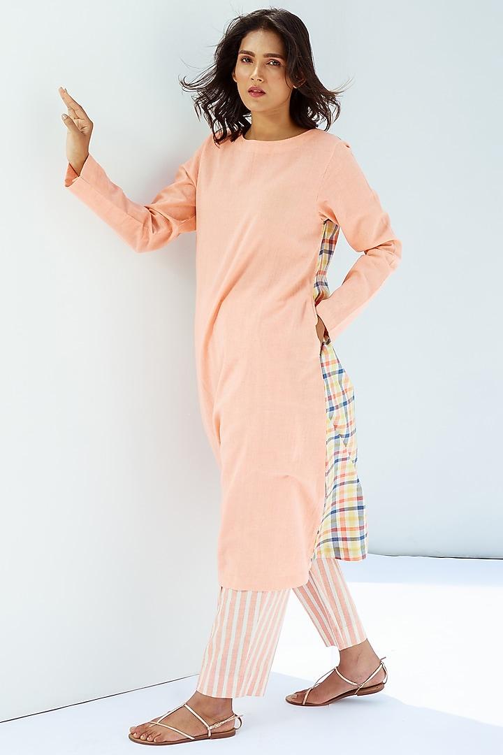 Blush Pink A-Line Kurta by Nesolo