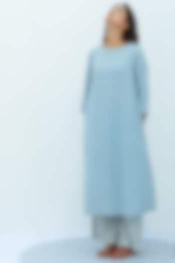 Blue A-Line Pure Cotton Kurta by Nesolo
