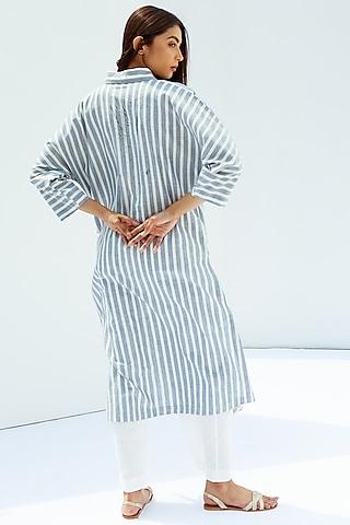 Blue Long Drop Shoulder Kurta by Nesolo