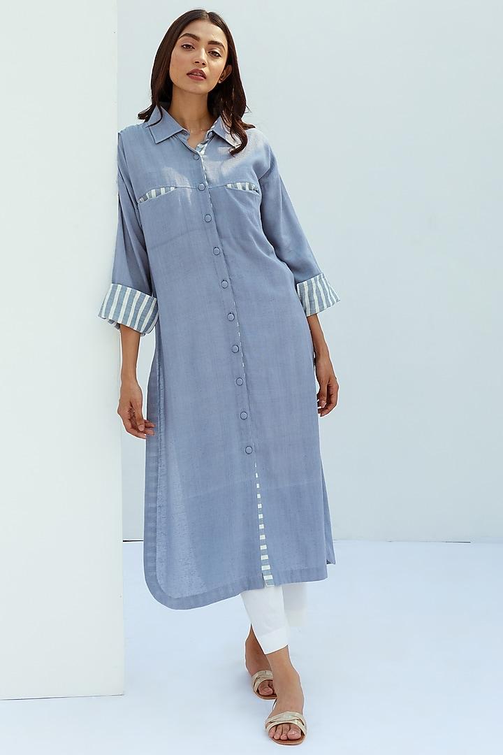 Blue Pure Cotton Striped Kurta by Nesolo