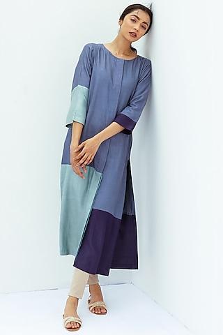 Sapphire Blue Color Blocked Straight Kurta by Nesolo