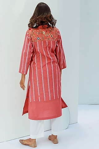 Tomato Red Hand Embroidered Kurta by Nesolo