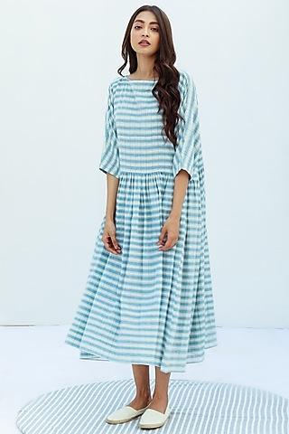 Blue Handwoven Cotton Mulmul Dress by Nesolo