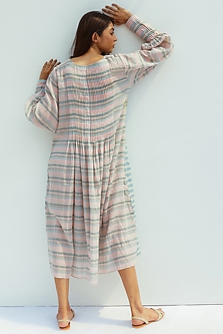 Blue Blush Handwoven Cotton Mulmul Dress With Slip by Nesolo