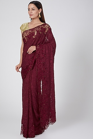 Maroon Embroidered Saree by Not So Serious By Pallavi Mohan
