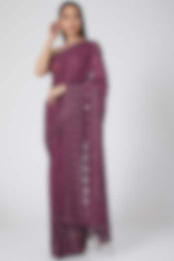 Onion Pink Embroidered Saree by Not So Serious By Pallavi Mohan