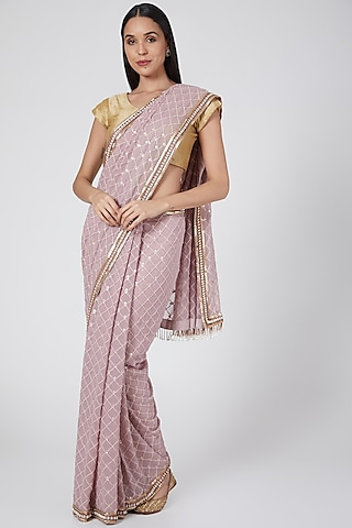 Mauve Embroidered Saree by Not So Serious By Pallavi Mohan