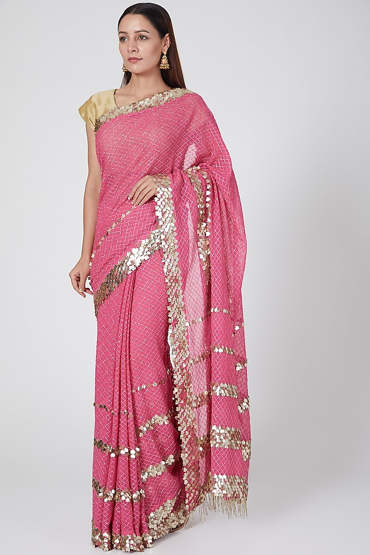 Lotus Pink Embroidered Saree by Not So Serious By Pallavi Mohan
