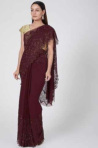 Wine Embroidered Saree by Not So Serious By Pallavi Mohan