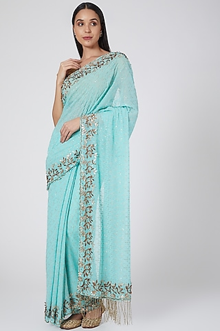 Powder Blue Embroidered Saree by Not So Serious By Pallavi Mohan