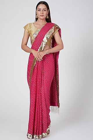 Hot Pink Embroidered Saree by Not So Serious By Pallavi Mohan