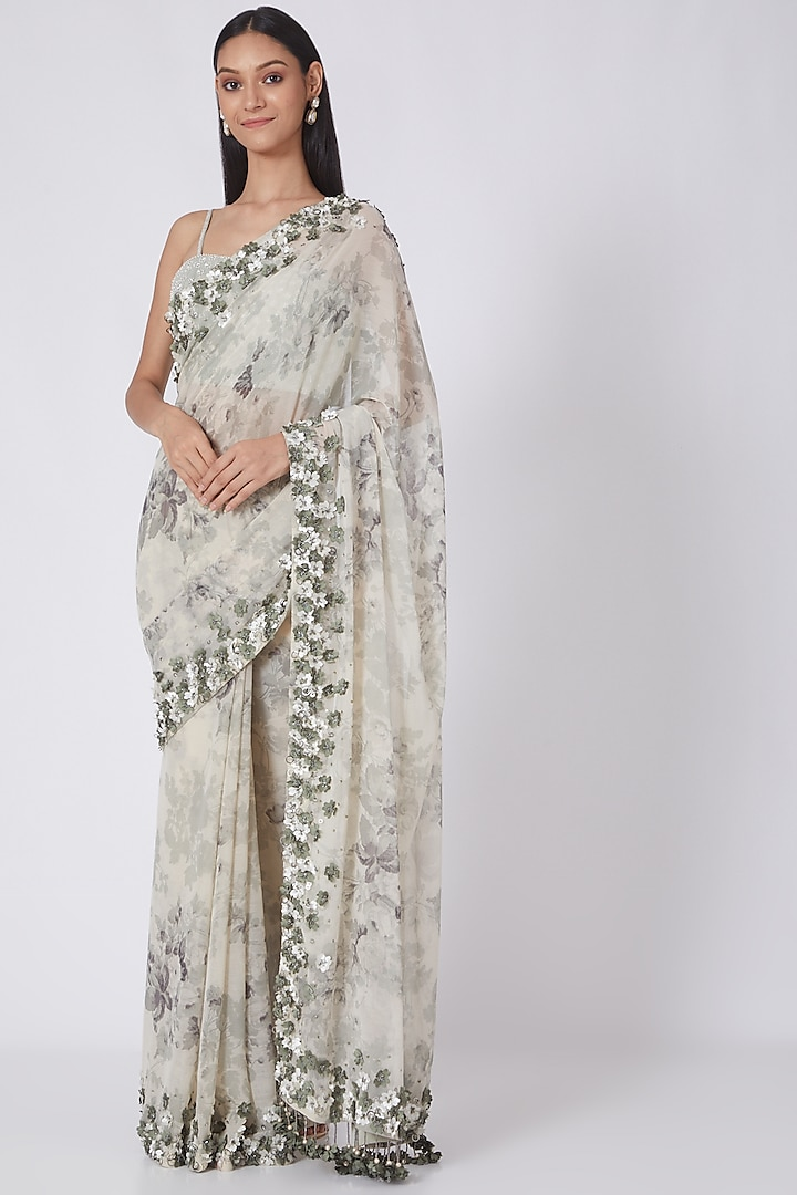 Light Green Printed & Embroidered Saree by NSS Pret by Pallavi Mohan