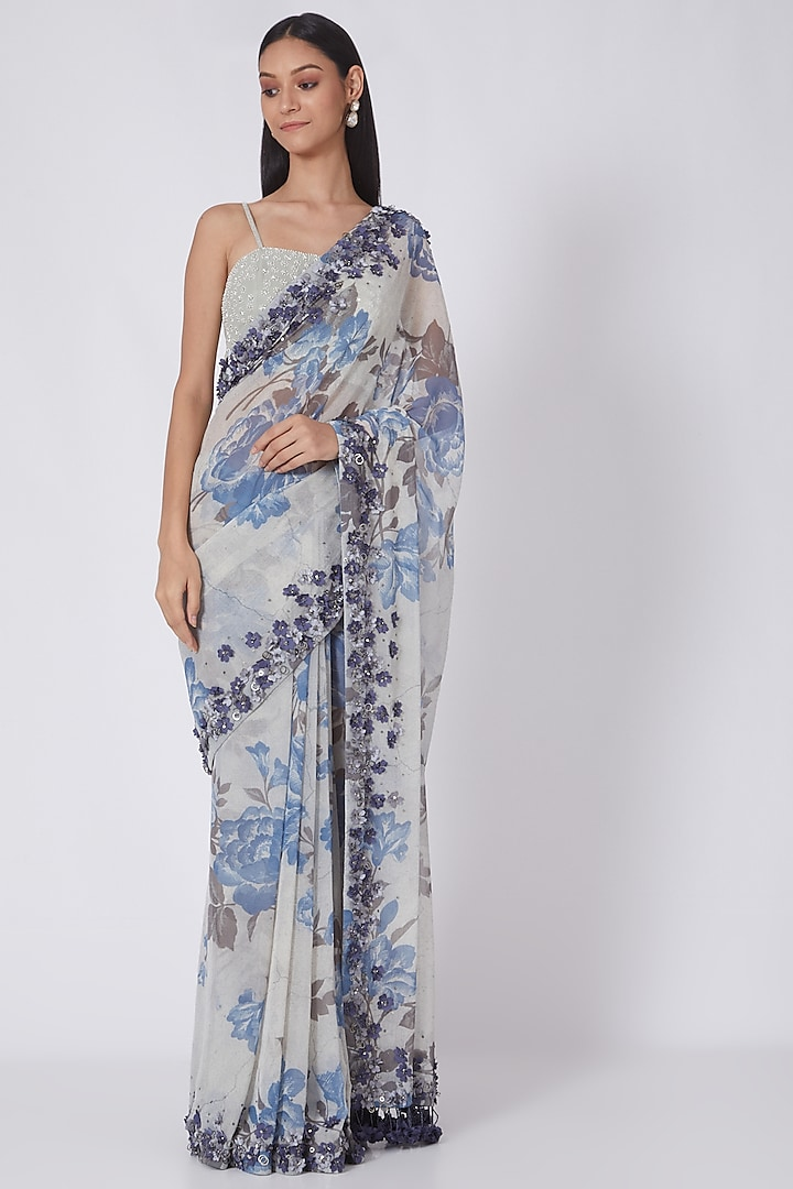 Blue Printed & Embroidered Saree by NSS Pret by Pallavi Mohan